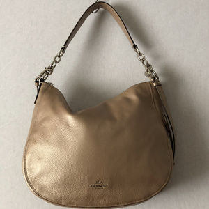 Coach Metallic Pebble Leather Elle Hobo Bag